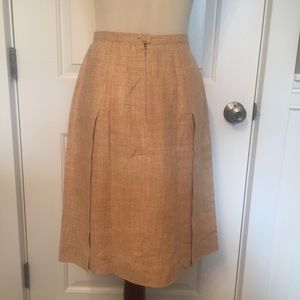 ⭐️CHANEL SKIRT A-LINE MIDI TAN LINEN 00C 38 SMALL